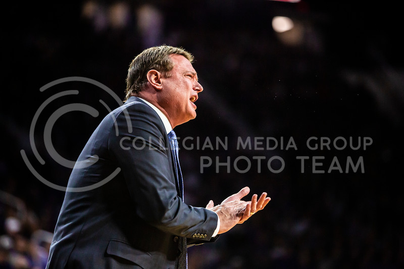 Kansas head coach Bill Self talks to his players during their men's basketball sunflower showdown against K-State in Bramlage Coliseum on Feb. 29, 2020. The Jayhawks narrowly beat the Wildcats 62-58. (Logan Wassall | Collegian Media Group)