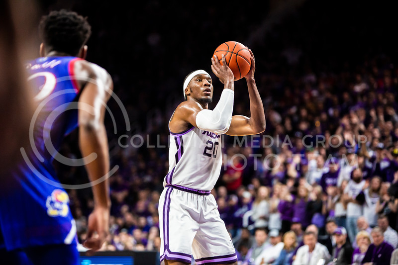 Senior forward Xavier Sneed takes a free throw during K-State's men's basketball sunflower showdown against Kansas in Bramlage Coliseum on Feb. 29, 2020. The Jayhawks narrowly beat the Wildcats 62-58. (Logan Wassall | Collegian Media Group)