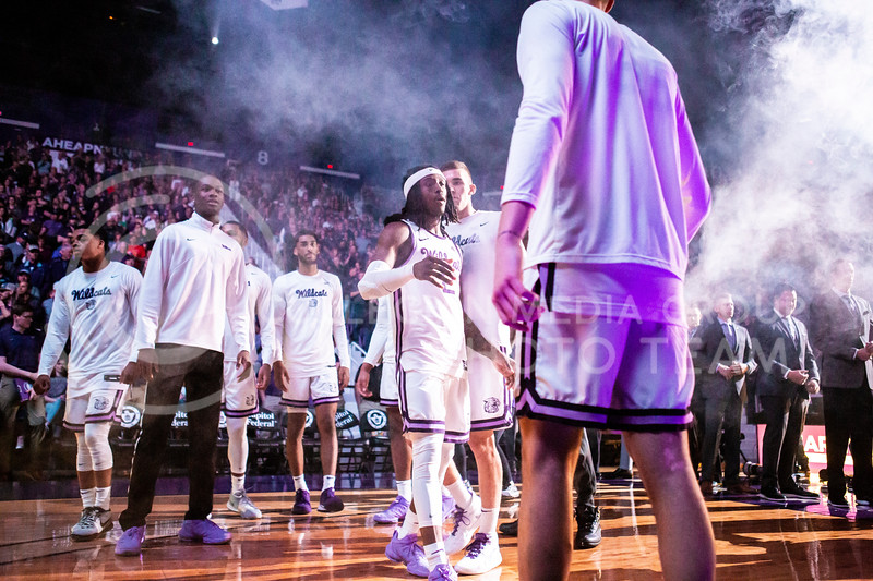 Junior guard Cartier Diarra is announced as a starter before this year's sunflower showdown against Kansas in Bramlage Coliseum on Feb. 29, 2020. The Jayhawks narrowly beat the Wildcats 62-58. (Logan Wassall | Collegian Media Group)