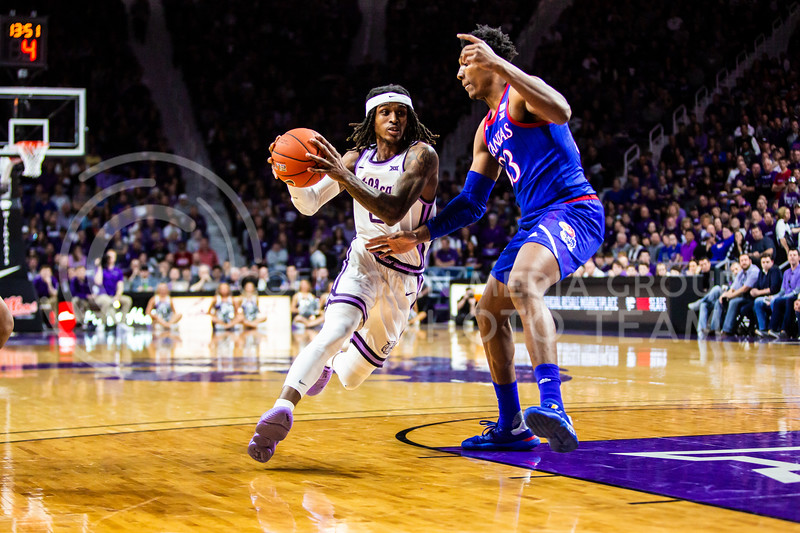 Junior guard Cartier Diarra charges the basket during K-State's men's basketball sunflower showdown against Kansas in Bramlage Coliseum on Feb. 29, 2020. The Jayhawks narrowly beat the Wildcats 62-58. (Logan Wassall | Collegian Media Group)