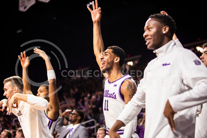 Freshman forward Antonio Gordon celebrates after a play during K-State's men's basketball sunflower showdown against Kansas in Bramlage Coliseum on Feb. 29, 2020. The Jayhawks narrowly beat the Wildcats 62-58. (Logan Wassall | Collegian Media Group)