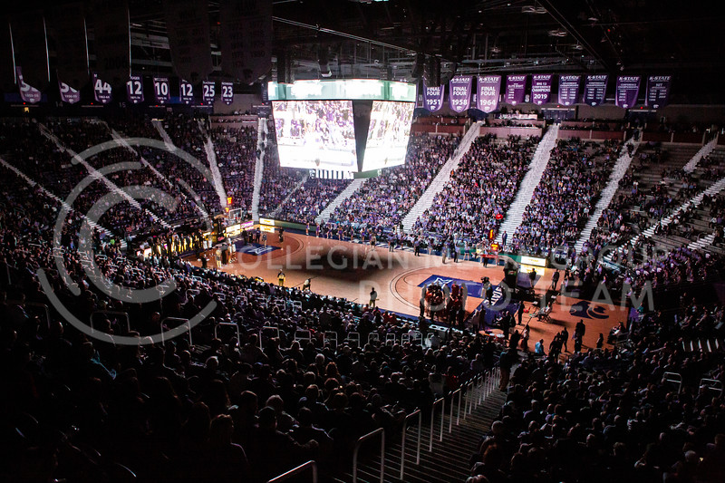 K-State's men's basketball team plays their Throwback Game against Texas in Bramlage Coliseum on Feb. 22, 2020. For the Throwback Game, K-State wore two-tone lavender uniforms, which were worn from 1973 to 1982. The Longhorns took the Wildcats 70-59. (Logan Wassall | Collegian Media Group)