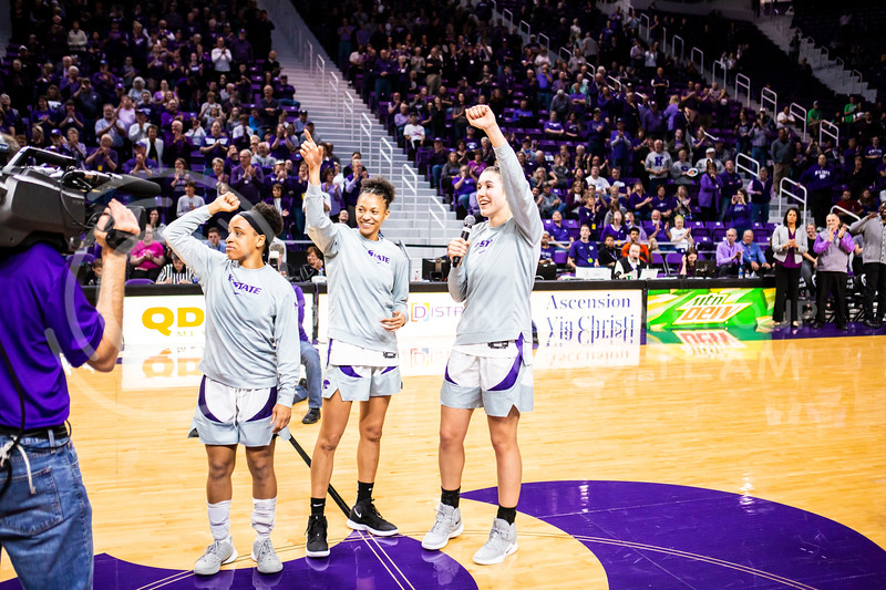 Senior forward Peyton Williams gives a speech during K-State's women's basketball team's Senior Day ceremony after their game against Kansas in Bramlage Coliseum on March 8, 2020. The Wildcats took the Jayhawks 83-63. (Logan Wassall | Collegian Media Group)