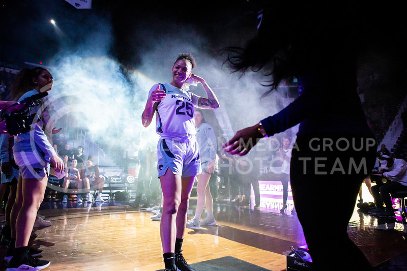Senior forward Jasauen Beard is announced as a starter for K-State's women's basketball team's Senior Day game against Kansas in Bramlage Coliseum on March 8, 2020. The Wildcats took the Jayhawks 83-63. After the game, K-State held a ceremony in honor of this year's three senior players. (Logan Wassall | Collegian Media Group)