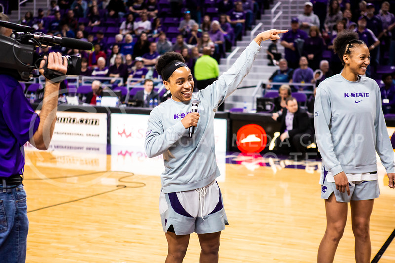 Senior Angela Harris gives a speech during K-State's women's basketball team's Senior Day ceremony after their game against Kansas in Bramlage Coliseum on March 8, 2020. The Wildcats took the Jayhawks 83-63. (Logan Wassall | Collegian Media Group)