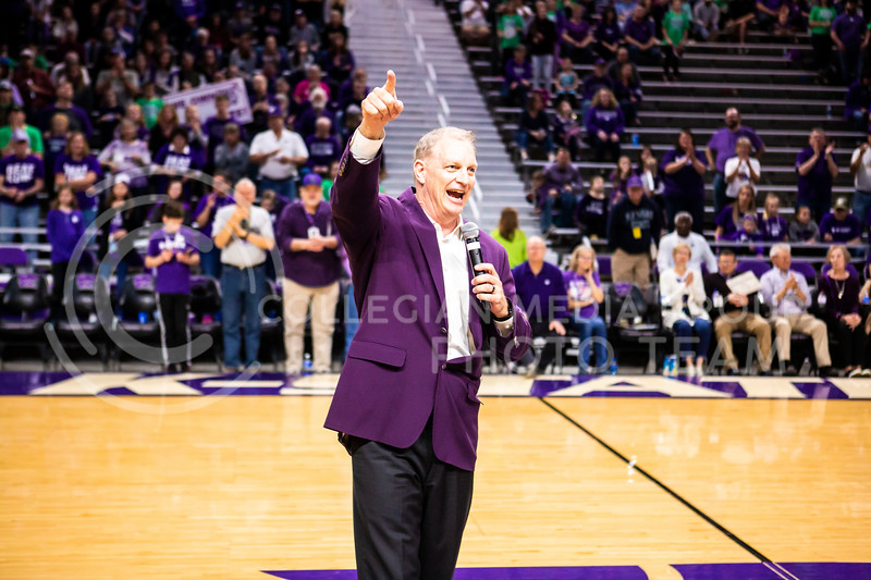 Head coach Jeff Mittie gives a speech during K-State's women's basketball team's Senior Day ceremony after their game against Kansas in Bramlage Coliseum on March 8, 2020. The Wildcats took the Jayhawks 83-63. (Logan Wassall | Collegian Media Group)