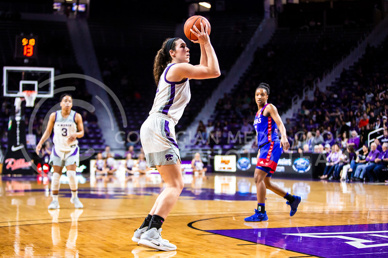 Senior forward Peyton Williams takes a shot during K-State's women's basketball team's Senior Day game against Kansas in Bramlage Coliseum on March 8, 2020. The Wildcats took the Jayhawks 83-63. After the game, K-State held a ceremony in honor of this year's three senior players. (Logan Wassall | Collegian Media Group)