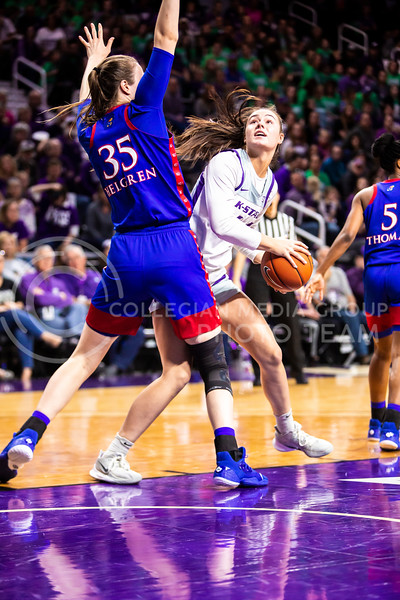 Freshman forward Emma Chapman looks towards the basket for a shot during K-State's women's basketball team's Senior Day game against Kansas in Bramlage Coliseum on March 8, 2020. The Wildcats took the Jayhawks 83-63. After the game, K-State held a ceremony in honor of this year's three senior players. (Logan Wassall | Collegian Media Group)