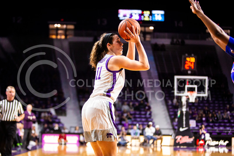 Senior forward Peyton Williams takes a shot during K-State's women's basketball team's Senior Day game against Kansas in Bramlage Coliseum on March 8, 2020. The Wildcats took the Jayhawks 83-63. After the game, K-State held a ceremony in honor of this year's three senior players. (Logan Wassall   Collegian Media Group)