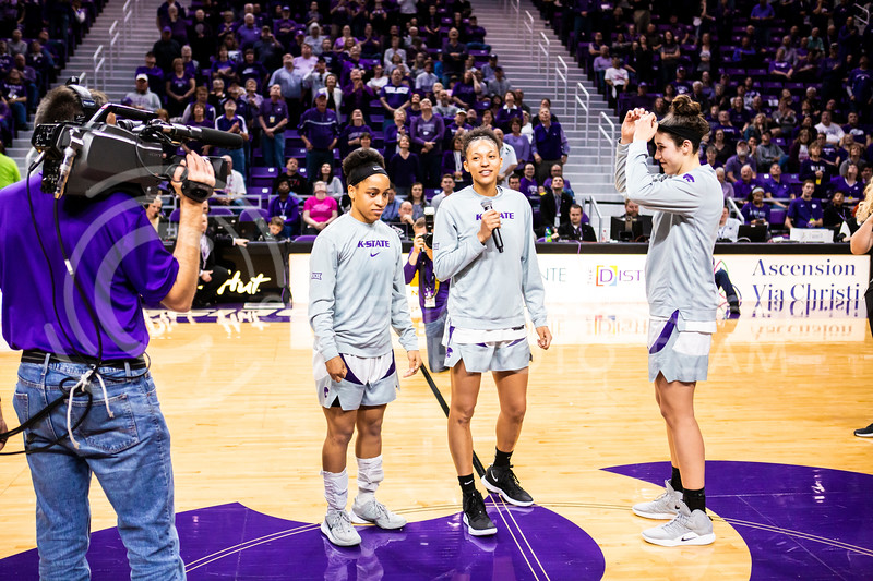 Senior forward Jasauen Beard gives a speech during K-State's women's basketball team's Senior Day ceremony after their game against Kansas in Bramlage Coliseum on March 8, 2020. The Wildcats took the Jayhawks 83-63. (Logan Wassall | Collegian Media Group)