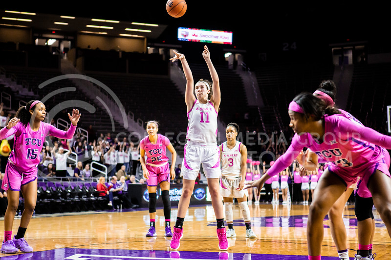 Senior forward Peyton Williams takes a free throw during K-State's women's basketball team's Play 4 Kay Pink Game to promote cancer awareness. K-State played against TCU in Bramlage Coliseum on Feb. 19, 2020. The Horned Frogs defeated the Wildcats 54-52. (Logan Wassall | Collegian Media Group)