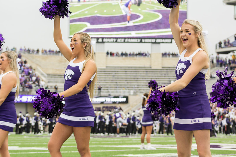The Kansas State cheerleaders show their spirit at Bill Snyder Family Stadium on Sept. 8, 2018. The Wildcats lost to the MSU Bulldogs 31-10. (Andrea Klepper | Collegian Media Group)