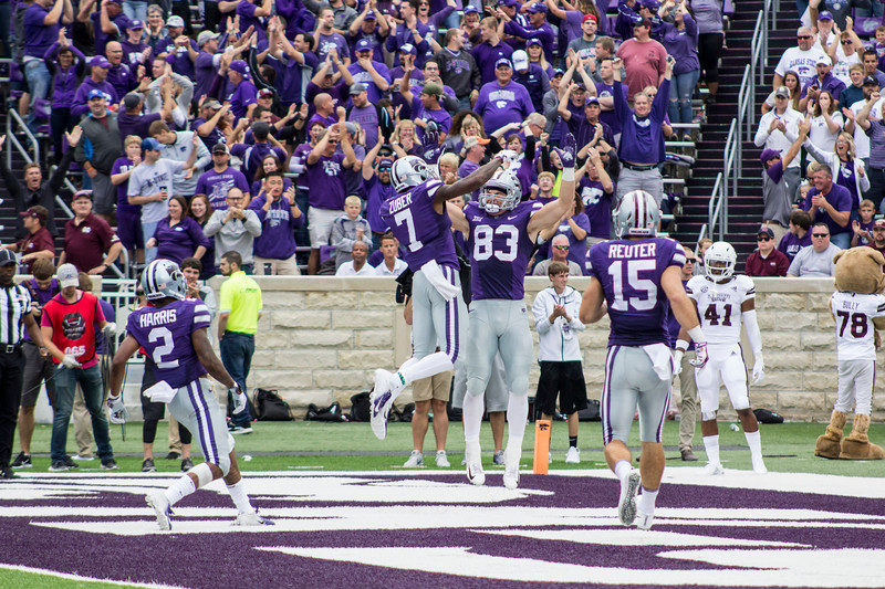 Dalton Schoen, Kansas State junior wide receiver jumps up with teammate, Isaiah Zuber, junior wide receiver to celebrate a touchdown against Mississippi State at Bill Snyder Family Stadium on Sept. 8, 2018. The Wildcats lost to the MSU Bulldogs 31-10. (Andrea Klepper | Collegian Media Group)