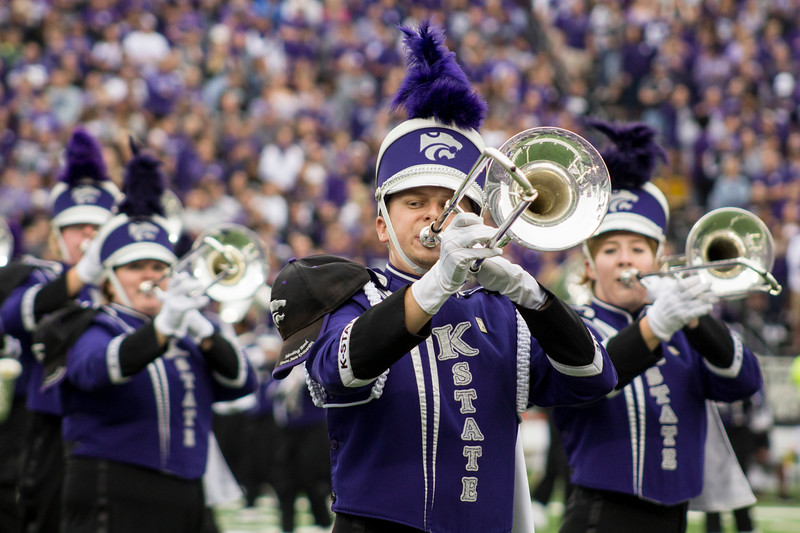 The Kansas State marching band preforms during a pregame performance at Bill Snyder Family Stadium on Sept. 8, 2018. The Wildcats lost to the MSU Bulldogs 31-10. (Andrea Klepper | Collegian Media Group)