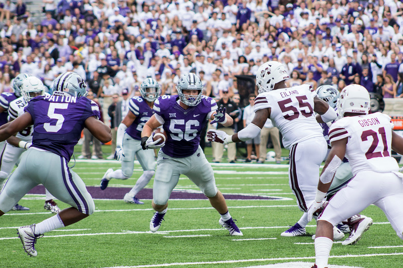 Wyatt Hubert, Kansas State freshman defensive end runs the ball after intercepting a pass against Mississippi State at Bill Snyder Family Stadium on Sept. 8, 2018. The Wildcats lost to the MSU Bulldogs 31-10. (Andrea Klepper | Collegian Media Group)
