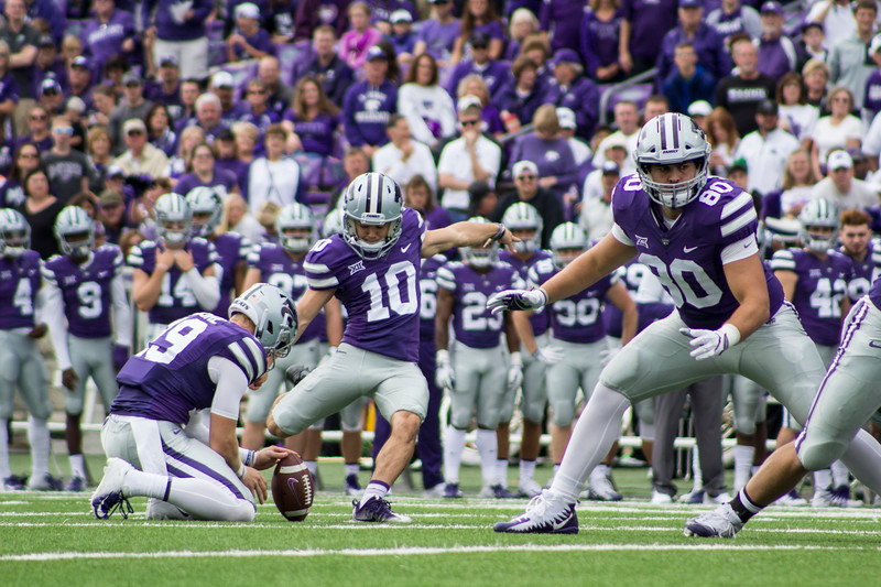 Blake Lynch, Kansas State sophomore place kicker attempts to make a field goal against Mississippi State at Bill Snyder Family Stadium on Sept. 8, 2018. The Wildcats lost to the MSU Bulldogs 31-10. (Andrea Klepper | Collegian Media Group)