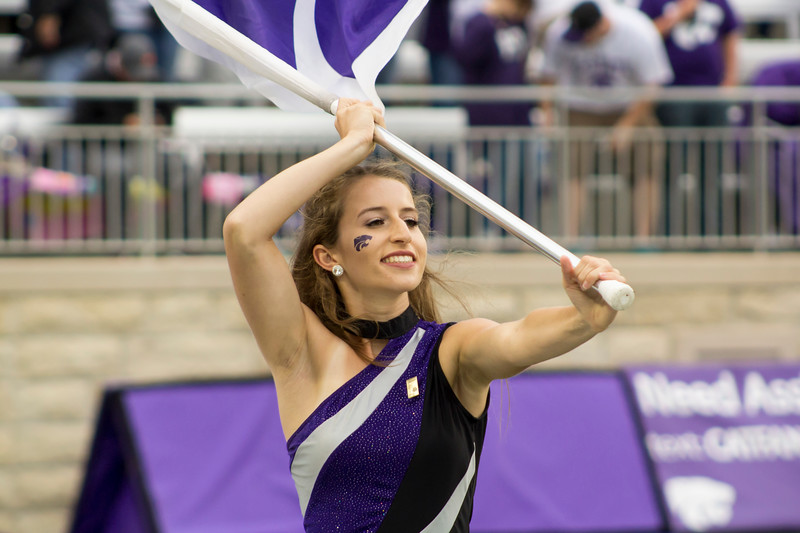 The Kansas State color guard preforms during a pregame performance at Bill Snyder Family Stadium on Sept. 8, 2018. The Wildcats lost to the MSU Bulldogs 31-10. (Andrea Klepper | Collegian Media Group)