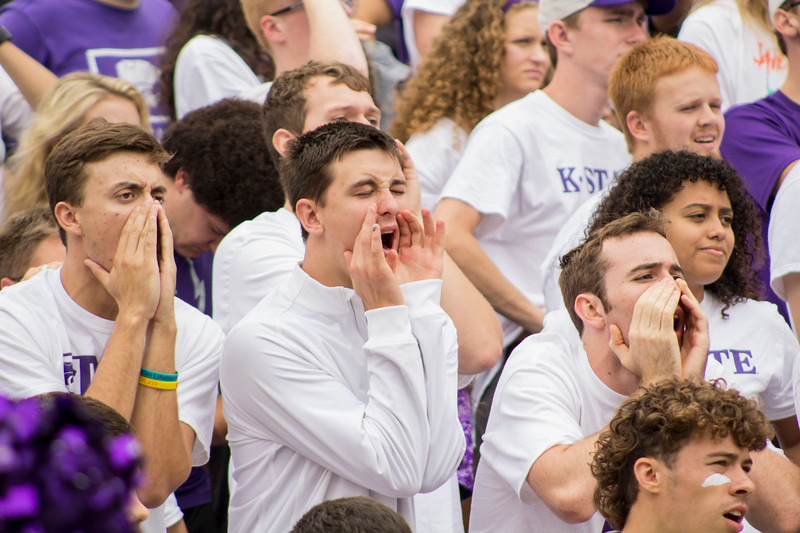 Kansas State fans cheer on the Wildcats at Bill Snyder Family Stadium on Sept. 8, 2018. The Wildcats lost to the MSU Bulldogs 31-10. (Andrea Klepper | Collegian Media Group)