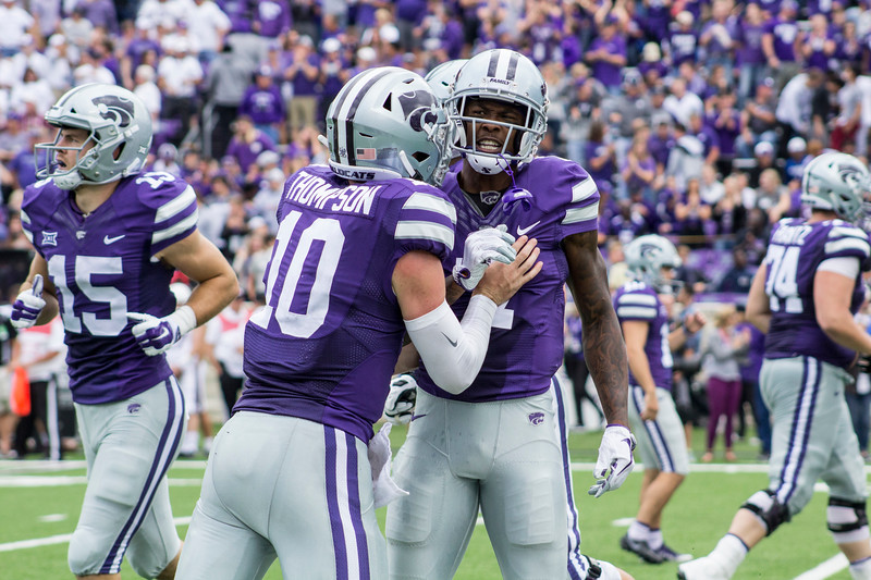 Isaiah Zuber, Kansas State junior wide receiver celebrates after a touchdown against Mississippi State with teammate Skylar Thompson, sophomore quarterback at Bill Snyder Family Stadium on Sept. 8, 2018. The Wildcats lost to the MSU Bulldogs 31-10. (Andrea Klepper | Collegian Media Group)