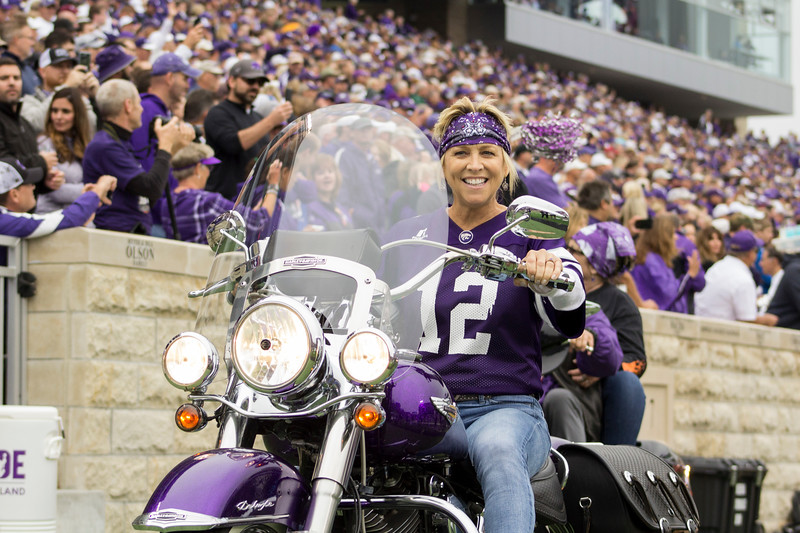 A participant rides in for Harley day at Bill Snyder Family Stadium on Sept. 8, 2018. The Wildcats lost to the MSU Bulldogs 31-10. (Andrea Klepper | Collegian Media Group)