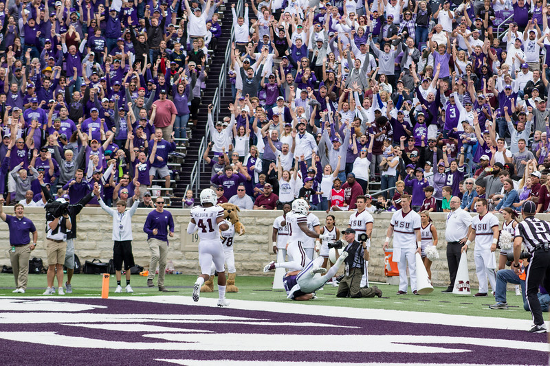 Fans cheer as Dalton Schoen, Kansas State junior wide receiver makes a touchdown against Mississippi State at Bill Snyder Family Stadium on Sept. 8, 2018. The Wildcats lost to the MSU Bulldogs 31-10. (Andrea Klepper | Collegian Media Group)