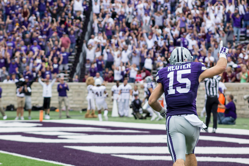 Zach Reuter, Kansas State senior wide receiver runs to the endzone to celebrate as the wildcats make a touchdown against Mississippi State at Bill Snyder Family Stadium on Sept. 8, 2018. The Wildcats lost to the MSU Bulldogs 31-10. (Andrea Klepper | Collegian Media Group)
