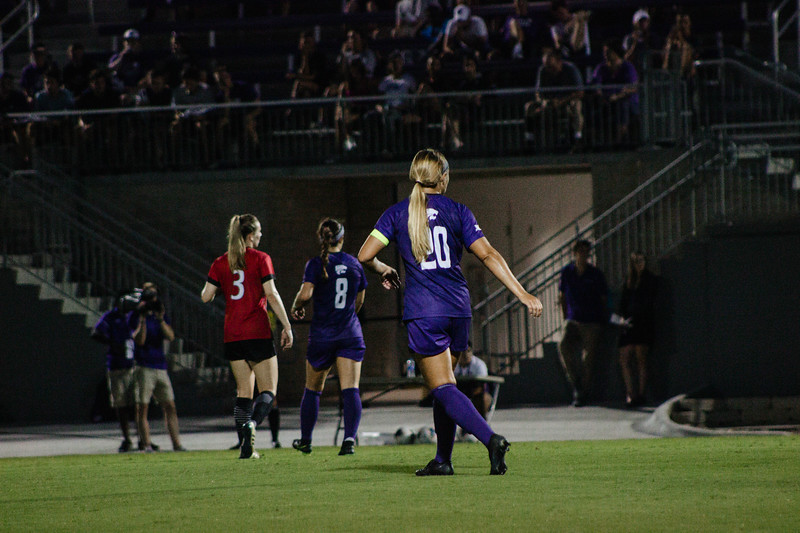 Senior Katie Cramer staying alert for the ball to come her way at game against Arkansas State. Arkansas won 2-1. (Luis Villarreal-Reyes   Collegian Media Group)