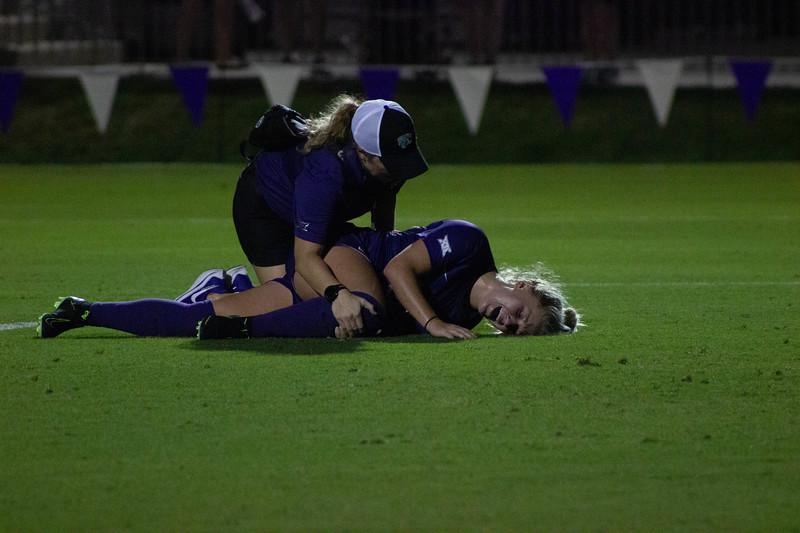 Junior Hannah Davis laying on the ground after suffering an injury at game against Arkansas State. Arkansas won 2-1. (Luis Villarreal-Reyes   Collegian Media Group)