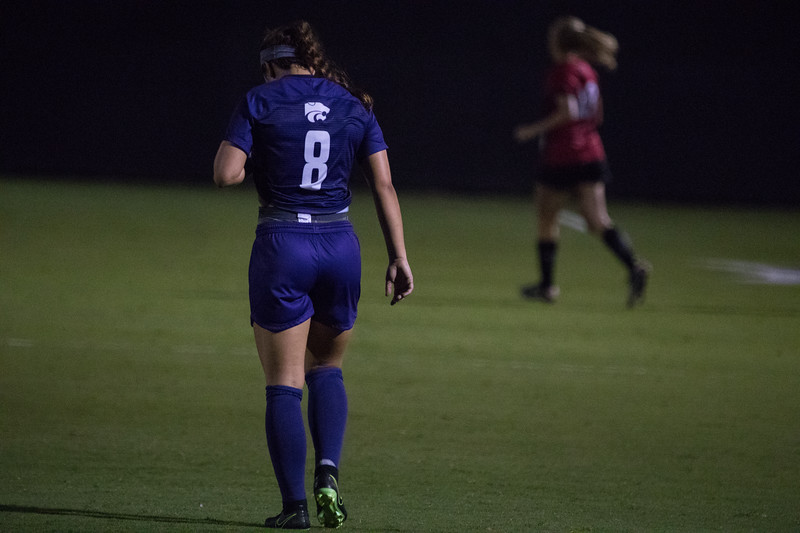 Junior Brookelynn Entz walks to other side of field at game against Arkansas State. Arkansas won 2:1