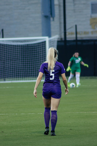 Freshman Caylee Thornhill staying alert for the ball at game against Arkansas State. Redshirt Sophomore Rachel Harris staying alert at game against Arkansas State. Arkansas won 2-1. (Luis Villarreal-Reyes   Collegian Media Group)