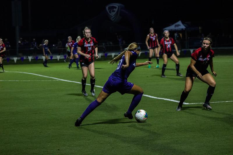Senior Katie Cramer moving the ball foward at game against Arkansas State. Arkansas won 2-1. (Luis Villarreal-Reyes   Collegian Media Group)