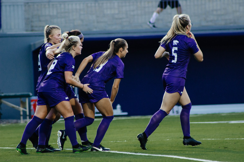 The Wildcats celebrate as a team after junior Hannah Davis Scored an equalizer against Arkansas State. Redshirt Sophomore Rachel Harris staying alert at game against Arkansas State. Arkansas won 2-1. (Luis Villarreal-Reyes   Collegian Media Group)