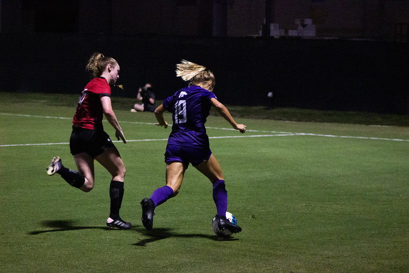 Junior Christina Baxter moving the ball forward at game against Arkansas State. Arkansas won 2-1. (Luis Villarreal-Reyes   Collegian Media Group)