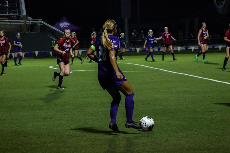 Senior Katie Cramer controlling the ball at game against Arkansas State. Arkansas won 2-1. (Luis Villarreal-Reyes   Collegian Media Group)
