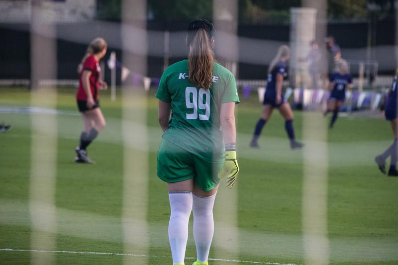 Red-Shirt Goalie Rachel Harris stays alert in goal at game against Arkansas State. Arkansas won 2:1