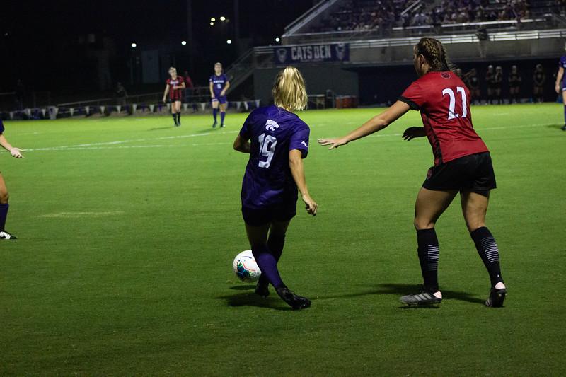 Junior Christina Baxter passing the ball at game against Arkansas State. Arkansas won 2-1. (Luis Villarreal-Reyes   Collegian Media Group)