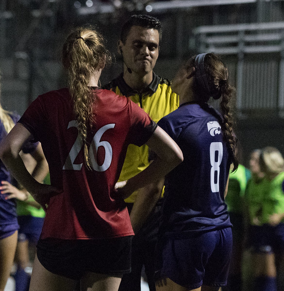 Junior Brookelynn Entz talks with referee after questionable play at game against Arkansas State. Arkansas won 2:1