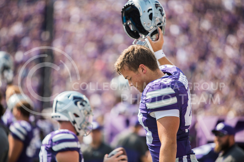Junior long snapper Wesley Burris cheers on K-State's football team during their game against Bowling Green in Bill Snyder Family Stadium on Sept. 7, 2019. The Wildcats shut down the Falcons with a final score of 52-0. (Logan Wassall | Logan Wassall Collegian Media Group)