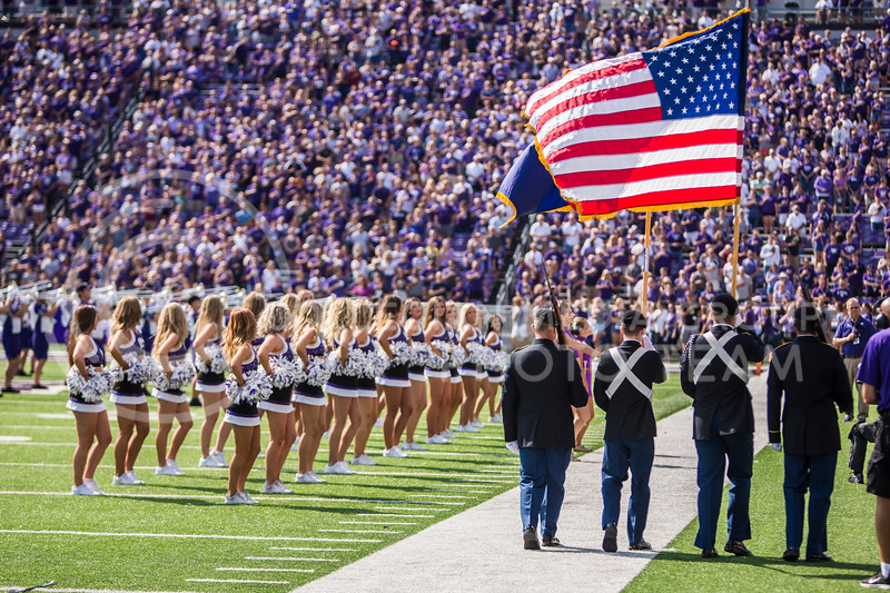 The National Anthem is played before K-State's football game against Bowling Green in Bill Snyder Family Stadium on Sept. 7, 2019. The Wildcats shut down the Falcons with a final score of 52-0. (Logan Wassall | Logan Wassall Collegian Media Group)