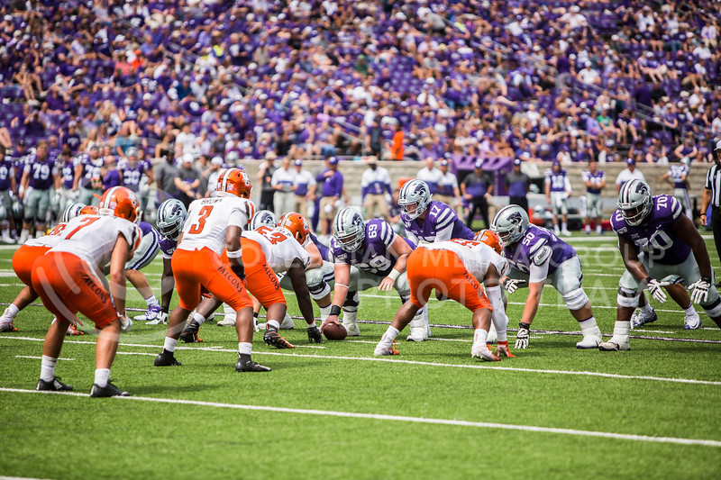 Junior offensive lineman Noah Johnson prepares to snap the ball during K-State's football game against Bowling Green in Bill Snyder Family Stadium on Sept. 7, 2019. The Wildcats shut down the Falcons with a final score of 52-0. (Logan Wassall | Logan Wassall Collegian Media Group)
