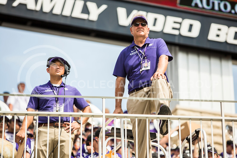Director Frank Tracz and assistant director Alex Wimmer look out onto the field during K-State's football game against Bowling Green in Bill Snyder Family Stadium on Sept. 7, 2019. The Wildcats shut down the Falcons with a final score of 52-0. (Logan Wassall | Logan Wassall Collegian Media Group)