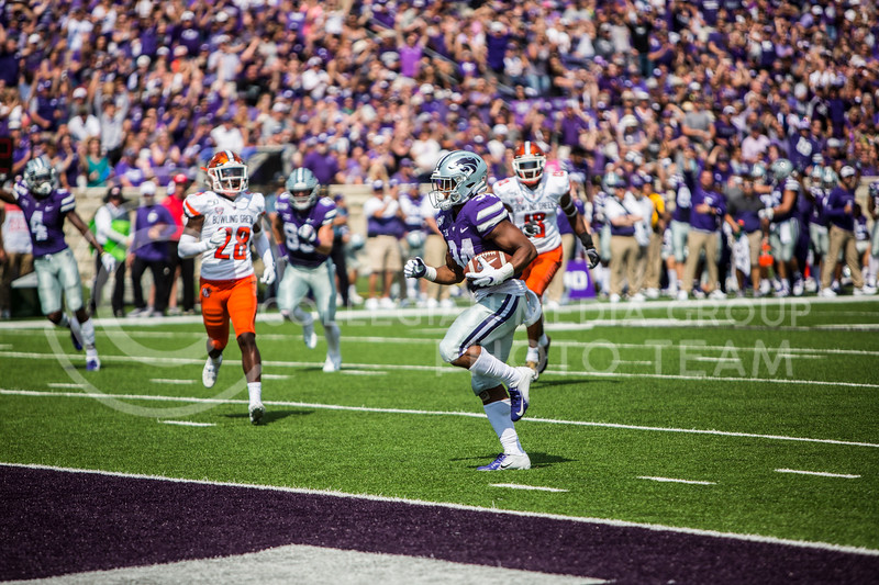 Senior running back James Gilbert scores a touchdown during K-State's football game against Bowling Green in Bill Snyder Family Stadium on Sept. 7, 2019. The Wildcats shut down the Falcons with a final score of 52-0. (Logan Wassall | Logan Wassall Collegian Media Group)