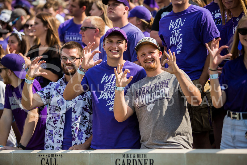 K-State fans cheer on their football team as they play against Bowling Green in Bill Snyder Family Stadium on Sept. 7, 2019. The Wildcats shut down the Falcons with a final score of 52-0. (Logan Wassall | Logan Wassall Collegian Media Group)