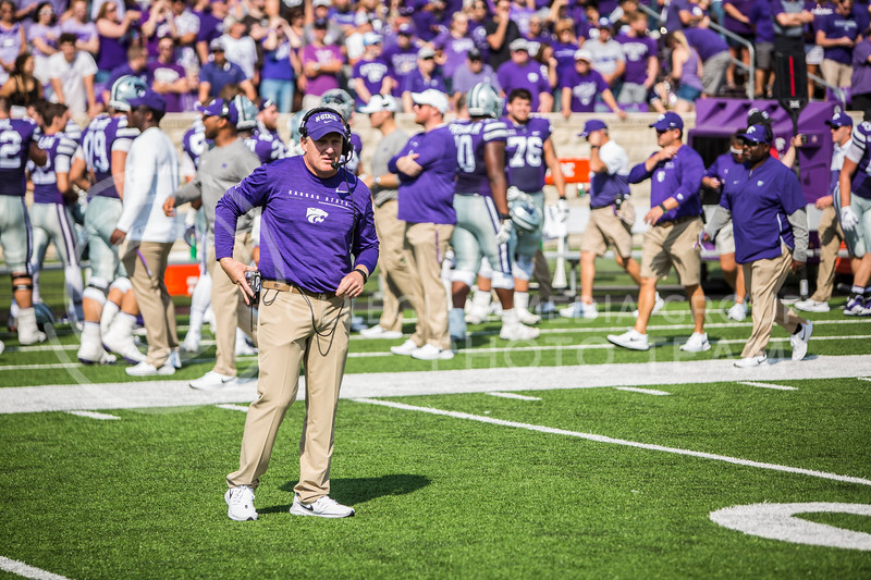 Head coach Chris Klieman watches K-State's football team as they play against Bowling Green in Bill Snyder Family Stadium on Sept. 7, 2019. The Wildcats shut down the Falcons with a final score of 52-0. (Logan Wassall | Logan Wassall Collegian Media Group)