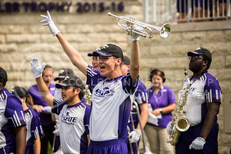 K-State's marching band cheers on their football team during their game against Bowling Green in Bill Snyder Family Stadium on Sept. 7, 2019. The Wildcats shut down the Falcons with a final score of 52-0. (Logan Wassall | Logan Wassall Collegian Media Group)