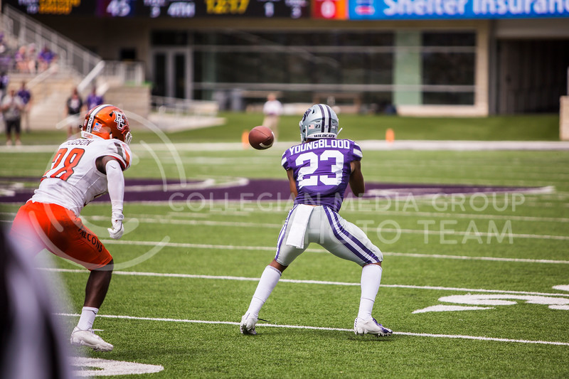 Freshman wide receiver Joshua Youngblood catches a pass during K-State's football game against Bowling Green in Bill Snyder Family Stadium on Sept. 7, 2019. The Wildcats shut down the Falcons with a final score of 52-0. (Logan Wassall | Logan Wassall Collegian Media Group)