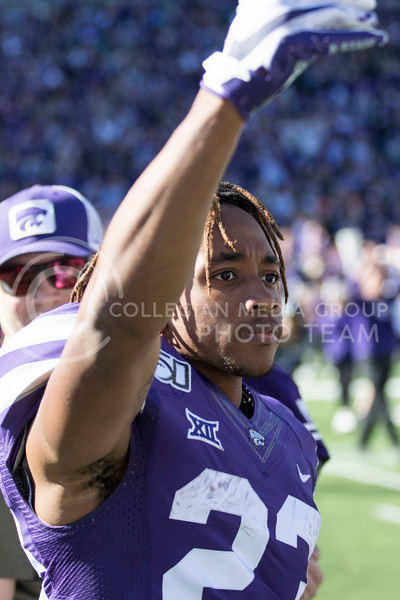 Freshman wide receiver Joshua Youngblood looks to the student section to celebrate the win over number five ranked Oklahoma during the game against Oklahoma at Bill Snyder Family Stadium on Oct. 26, 2019. (Sabrina Cline | Collegian Media Group)