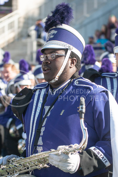 The band storms the field moments before K-State's homecoming game against OU on Oct. 26th, 2019. The Wildcats defeated the Sooners 48-41. (Aubrey Bolinger | Collegian Media Group)