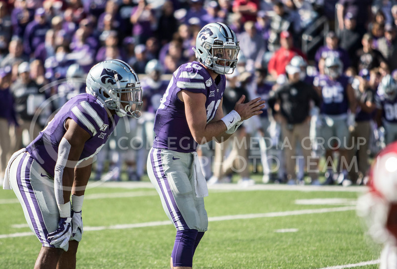 Junior quarterback Skylar Thompson shouts out the next play to his offense during the game against Oklahoma at Bill Snyder Family Stadium on Oct. 26, 2019. (Sabrina Cline | Collegian Media Group)
