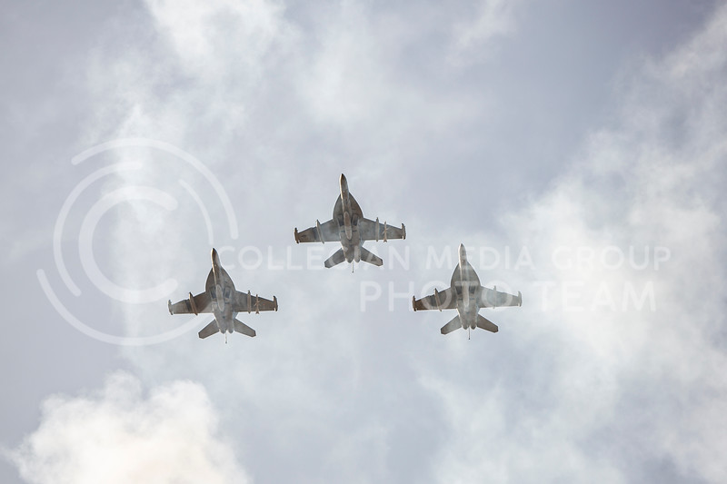 The fighter jets perform a flyover as the national anthem comes to an end before K-State's homecoming football game against OU in Bill Snyder Family Stadium on Oct. 26, 2019. The Wildcats upset the No. 5 rated Sooners with a final score of 48-41. (Logan Wassall | Collegian Media Group)